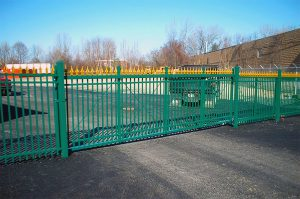 Green Cantilever Gate with Gold Finials