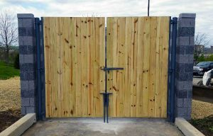 Cedar Wood Double Drive Gate with Steel Posts