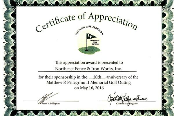Nfi recieves award northeast fence ironworks inc northeast fence and iron works recently received a certificate of appreciation for their sponsorship in the 20th anniversary of the matthew p pellegrino ii yelopaper