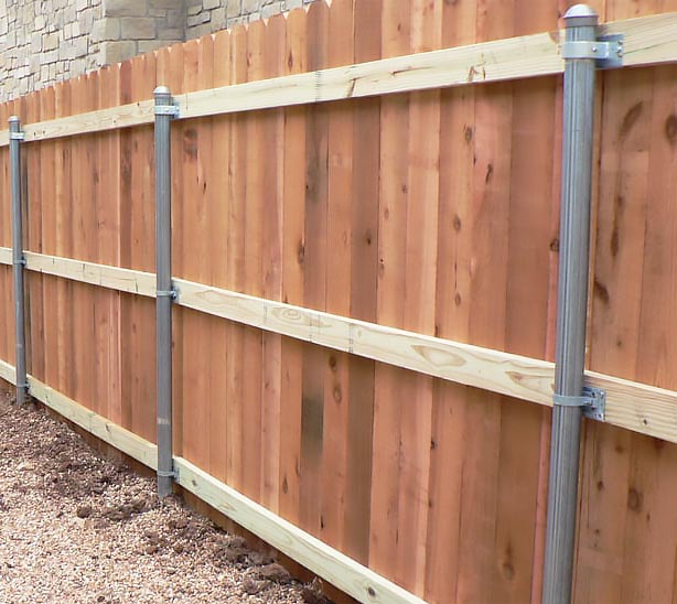 how to build a wood fence with steel posts